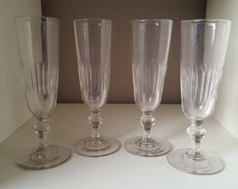 4 1900 20916 blown glass champagne flutes