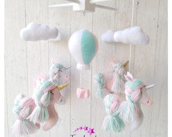 Unicorn baby mobile unicorn nursery felt balloon crib mobile rainbow decor baby shower gift baby girl unicorn toys pastel colors unicorns