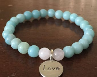 Amazonite and Rose Quartz Stretch Bracelet with Steling Silver Love Charm.