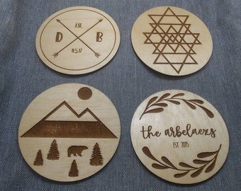 Engraved Wood Coasters, Personalized Drink Coaster, Custom Wood Coaster, Initals / Name, Est. Year