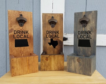 Customized Any Map Drink Local Wall Mount, BEER BOTTLE Opener, Drink Local, Bottle Opener Wall Mount, Beer Gifts, Man Cave Decor, Bar Decors