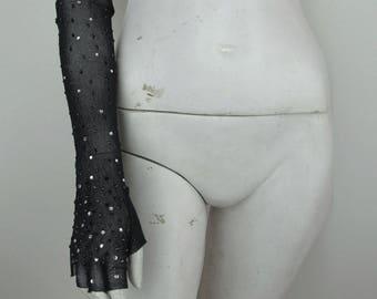 Vintage Mesh and Rhinestone Gloves