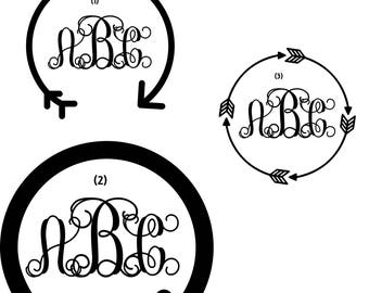 Monogram Decal/Monogram Sticker/Monogram Car Decal/Vinyl Decal/Vinyl Monogram/Yeti Decal/Car Decal/Laptop Decal