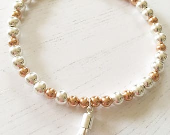 Sterling Silver & Rose Gold Filled Bead Bracelet with Silver Tassel