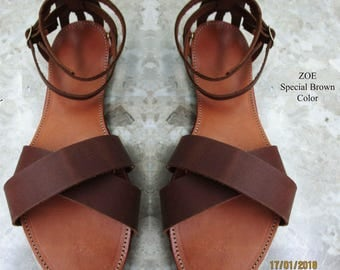 Womens Sandals,Sandals Womens,Leather Sandals,Greek Sandals,Gifts for women,Chocolate Colors,Leather Sandals,Strappy Sandals,Archaiko ZOE