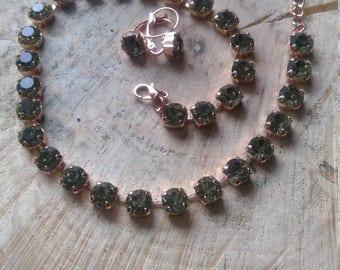 Gray Rhinestone Necklace & Earrings