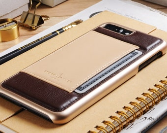 Apple iPhone 7 Plus / iPhone 8 Plus Genuine Leather Back Cover With Pocket for Credit Card in Dark Brown and Beige Creme Genuine Leather
