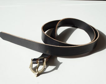 Leather belt with buckle viking 148cm