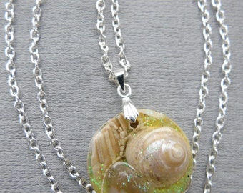 Crystal resin pendant containing seashells from Scottish beaches hung on a silver plated bail and chain.