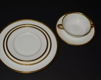 Antique LIMOGES, white china tableware with gold edging, B & C Limoges, France, L. Bernardaud, Henry Morgan, Montreal, Canada, plate, 5 pc