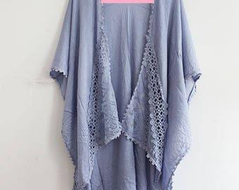 Blue Kimono with Lace Trim