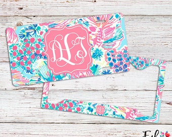 Monogrammed Lilly Inspired License Plate/Frame - Gypsea