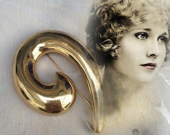 Designer Grosse for Christian Dior Gold Tone Large Unsual Design Shape Brooch