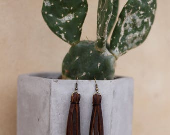 Genuine Brown Leather Fringe Earrings   Leather Anniversary   Bridesmaid Gifts   Gifts for Her   Gifts for Women   Gifts under 25