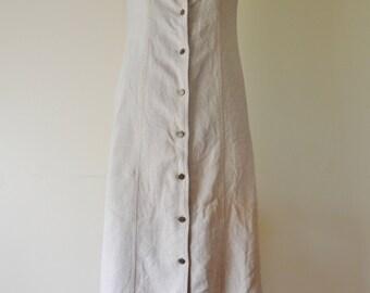 vintage 90s beige button down maxi dress S M long dress