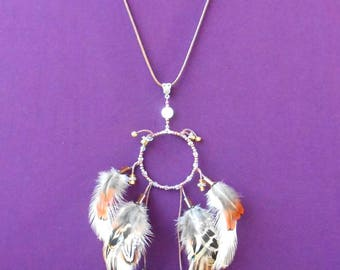 """Natural feathers """"Feathers rain"""" necklace"""