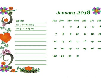 2018 Floral Calendar Floral Calender simple Calendar 2018 Flower Calendar A4 Calendar 2018 Art Calendar print 2018 flower Calendar 2018 PDF