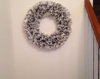 Black and White Fabric Wreath