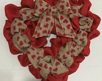 Burlap Valentines Heart