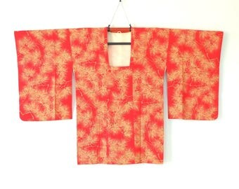 Authentic Japanese Vintage Red Michiyuki Kimono Half Coat Pine Leaves J33