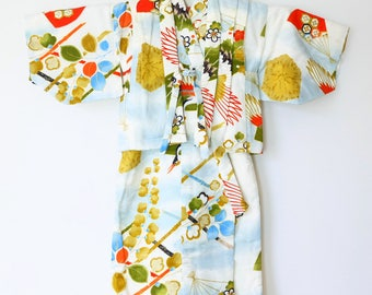 Authentic Japanese Vintage Boy's Small Kimono & Waistcoat set  Toddler Size Blue Crane L83