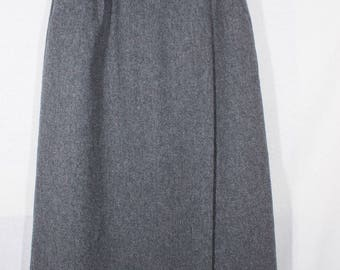 Vintage Neiman Marcus Collegiate Lined High Waisted Classic Gray Wool Midi Skirt
