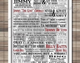 Goodfellas Movie Quotes Print // Typography Print // Movie Quotes // Quote Collage // Word Art // Art Print // DIGITAL download