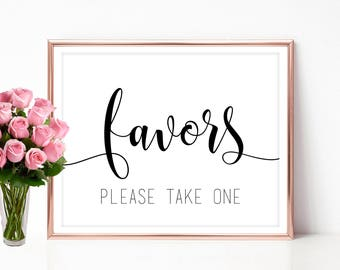 Wedding Favor Sign Favors Printable Please Take One Template 4x6 5x7 8x10 PDF JPEG
