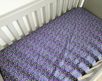 Navy and Purple Rose Crib Sheet - Fitted Crib Sheet - Floral Crib Sheet - Toddler Sheet - Baby Sheet - Baby Bedding - Cot Sheet