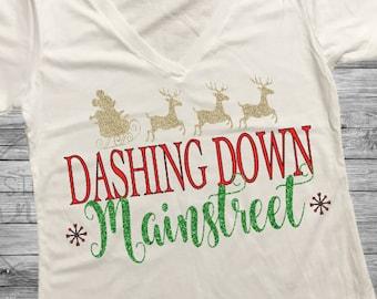 Dashing Down Mainstreet Shirt. Disney Christmas Shirt. Disney Shirt. Mickey Santa Shirt. Main Street Shirt. Magic Kingdom Shirt. Disneyland