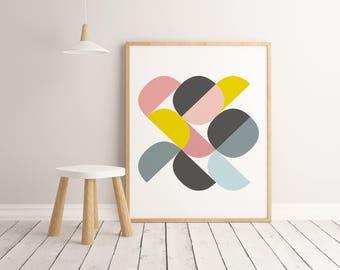 Lamina Circles Pasteles, Lamina decorativa, Cuadros modernos, laminas nordicas, Impresión digital. Wall Art. Print Art.