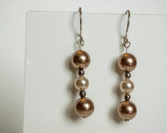 Swarovski Crystal Pearl Earrings on Sterling silver french ear wires