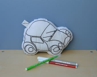 car coloring pattern learning cushion