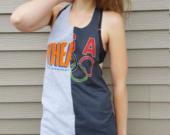 Wheaties/USA Olympics Spliced Halter Open Back Upcycled Tank, S