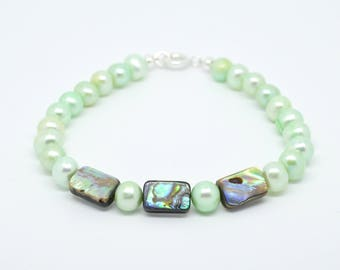 Freshwater Cultured Mint Green Pearl and Rectangular Abalone Beaded Bracelet. 8 1/2 Inch