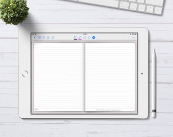 Digital Bullet Journal with Lined pages for GoodNotes App, Digital Bujo with hyperlinks, iPad Pro Digital Journal