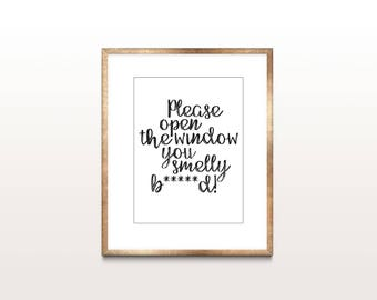 Open the Window Funny Bathroom Sign, Bad Words, Printable, Bathroom Decor, Bathroom Art, Gift for Him, Gift for Women, Wall Hanging, Poster