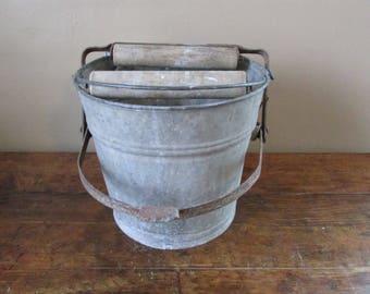 Antique Galvanized Bucket - Vintage Galvanized Mop Bucket -  Galvanized Mop Bucket