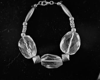 Faceted Rock Crystal and Sterling Silver Bracelet