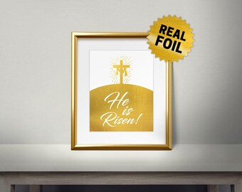 He is Risen, Real gold foil paper, Religion, Christianity words, Religious, Christian, Bible Verse, Jesus Christ, light, Cross on Hill