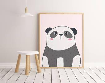 Panda Printable Wall Art Poster, Kids room decor, Nursery decor, Panda print, Panda poster, Panda art, Panda decor, Panda poster