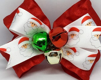 Christmas bow, jingle bell bow, santa bow, santa clause bow, jingle bells, red Christmas bow, holiday bow, girls bow, ruffle bow