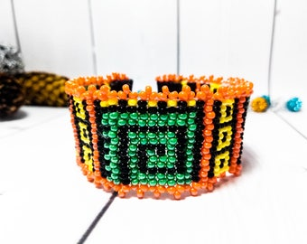 Orange bead jewelry Beauty gift Fashion Beaded Ethnic Geometric bracelet Jewelry Bright Ornament bead cuff bracelet women weaving Jewelry