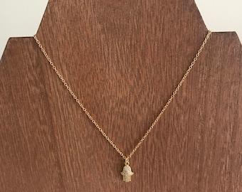 Hamsa Gold Plated Necklace / Cute Hamsa Necklace / Dainty Hamsa Necklace / Hamsa / Thin Gold Necklace / Peace Necklace / Cute Gold Hamsa