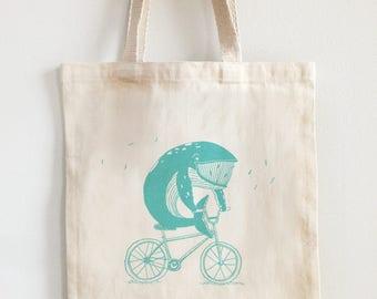 Tote bag screen printed - whale