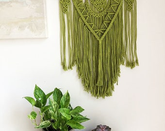 Pistachio Green Macrame Wall Hanging on a Foraged Branch, Woven Wall Hanging, Boho Hippie Tapestry, Bohemian Decor, Statement Piece
