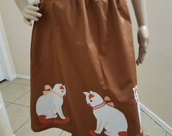Vintage Style Handmade Cat Apron or Wrap Skirt Applique, Kitty, 50's Style, Pin-up, Rockabilly