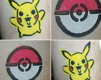 Pokemon (inspired) Pikachu and Pokeyball Stencil