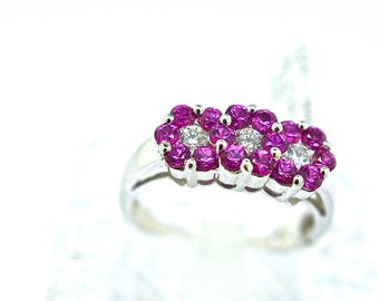 14k White Gold, Diamond And Ruby Ring. Size 7