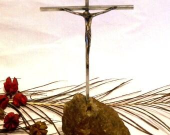 Christian Christmas Gift, Metal Cross, Catholic Crucifix, Metal Crucifix Religious, Room Decor Crucifix, Stone Crucifix, Mountain Crucifix